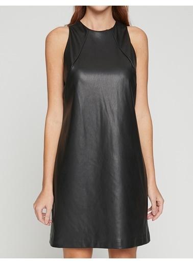 Koton Kolsuz Deri Görünümlü Elbise Siyah